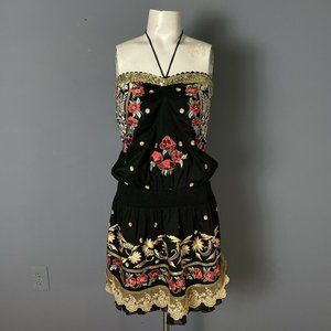 Venus Black Embroidered Fiesta Strapless Dress